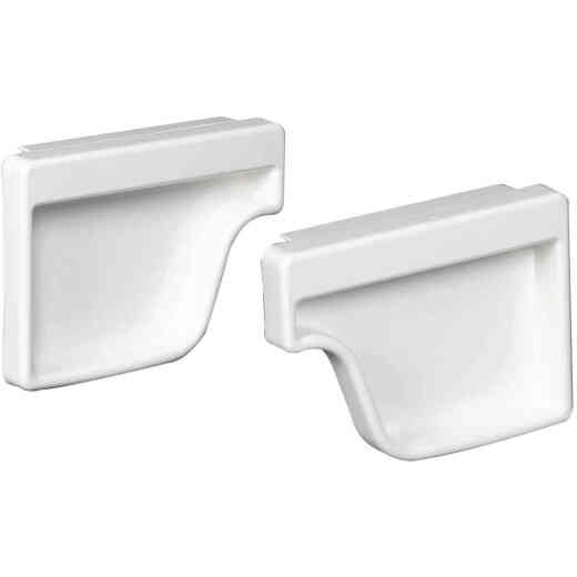 Amerimax 5 In. Traditional K-Style White Vinyl Gutter End Cap, Pair