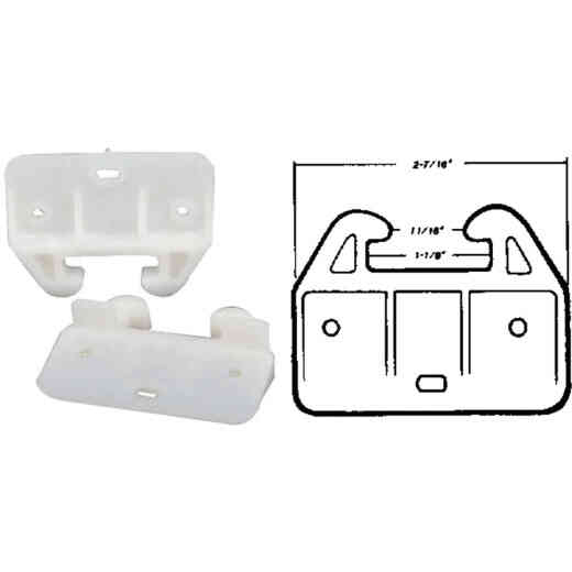 United States Hardware Rear Plastic White Track Guide for 1-1/8 In. Track (2-Pack)