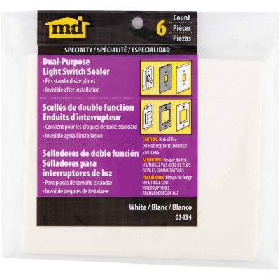 M-D Dual Purpose Switch & Wall Plate Insulator, (6-Pack)