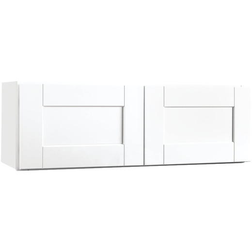 Continental Cabinets Andover Shaker 36 In. W x 12 In. H x 12 In. D White Thermofoil Bridge Wall Kitchen Cabinet