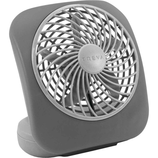 Treva 5 In. 2-Speed Gray Battery Operated Table Fan