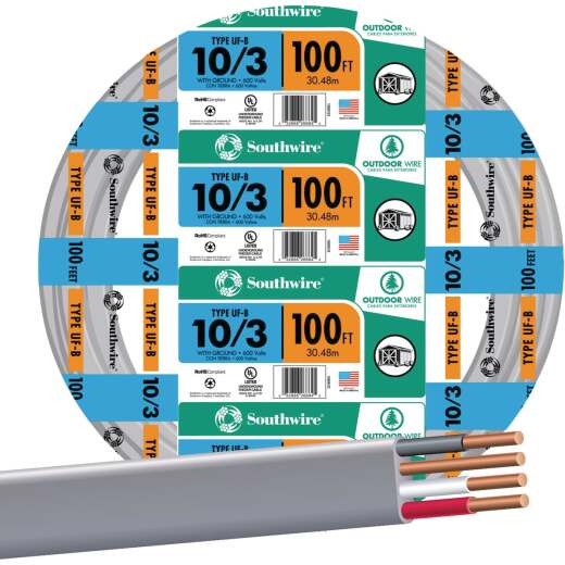 Southwire 100 Ft. 10 AWG 3-Conductor UFW/G Wire