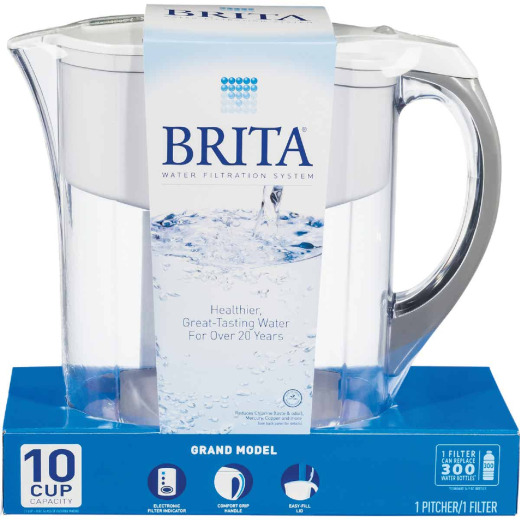 Brita Grand 10-Cup Water Filter Pitcher, White