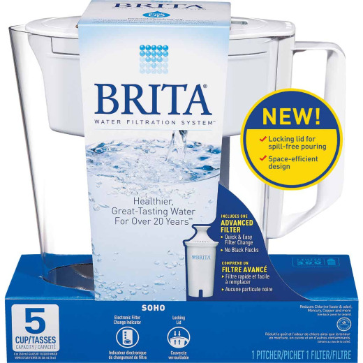Brita Soho 5-Cup Water Filter Pitcher, White