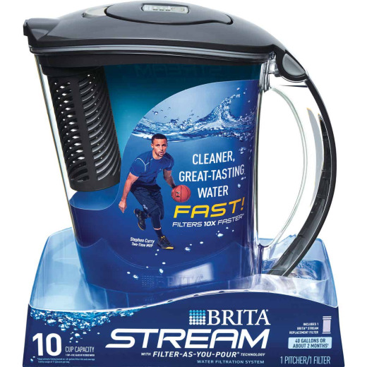 Brita Stream Rapids 10-Cup Gray Filter-As-You-Pour Pitcher