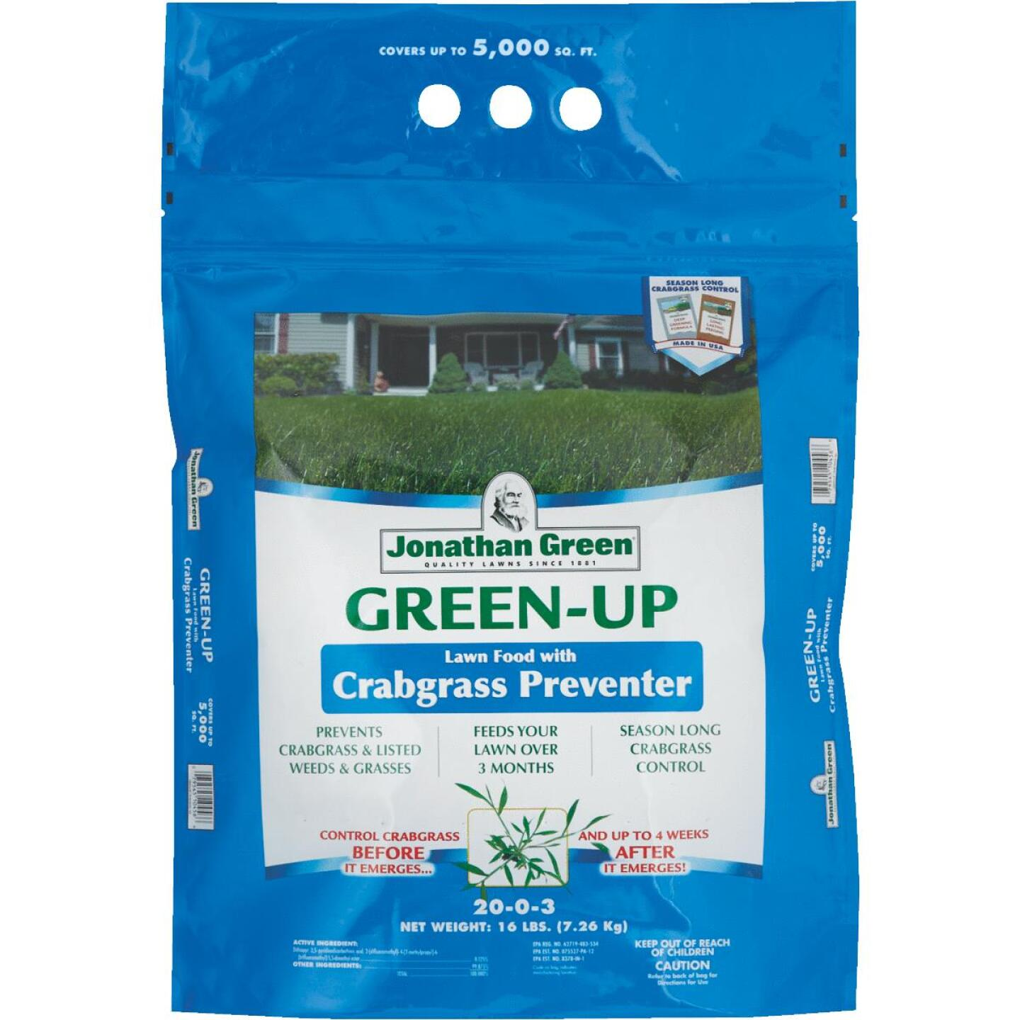 Jonathan Green Green-Up 15 Lb. 5000 Sq. Ft. 22-0-3 Lawn Fertilizer with Crabgrass Preventer Image 1
