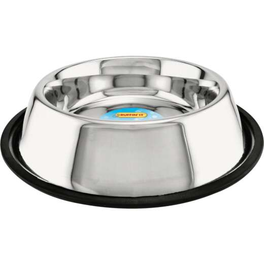 Westminster Pet Ruffin' it Stainless Steel Round 32 Oz. No Skid Pet Food Bowl