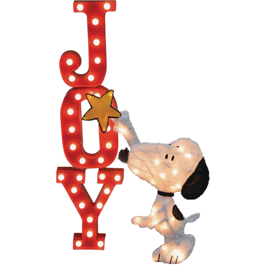 Product Works Peanuts 26 In. LED 60-Bulb Marquee with Snoopy Holding a Star